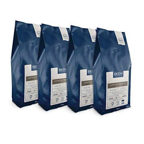 BEEM ESPRESSO PERFETTO Ganze Bohne - 4x 1 kg | Kaffeebohnen | Bohnenkaffee | Vollmundig | Wenig Säure| Für Espressomaschine, Vollautomat, Espressokocher