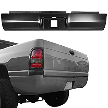 KUAFU Roll Pan Bumper with License Plate Hole W/Light Kit and Hardware Rear Compatible With Dodge Ram Full Size 2500 3500 1994-2002 Ram 1500 Old Style 1994-2001 for Pickup Steel