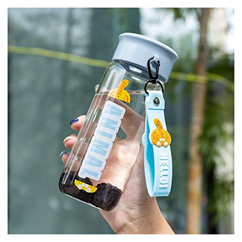 DONGMAISM Taza de Agua Botella de Agua Deporte Taza de Agua Lindo Pequeño Animal Vidrio Transparente Copa Portátil Copa Alta Temperatura Caminando al Aire Libre (Farbe : Tiger, Kapazität : 0.4L)