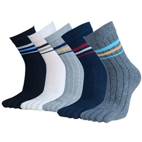 Panegy – Lot de 5 paires de Chaussettes fantaisie Pour Homme – Doigts de Pied Séparés – Chaussettes avec Orteils – Coton – Mixte 01