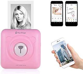 Aibecy PeriPage Mini Fotodrucker Wireless BT Thermodrucker Picture Label Memo Receipt Drucker mit USB Kabel für Android iOS Smartphone Windows (Pink)