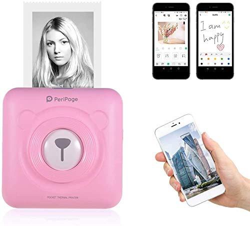 Aibecy PeriPage Mini Fotodrucker Wireless BT Thermodrucker Picture Label Memo Receipt Drucker mit USB-Kabel für Android iOS Smartphone Windows (Pink)