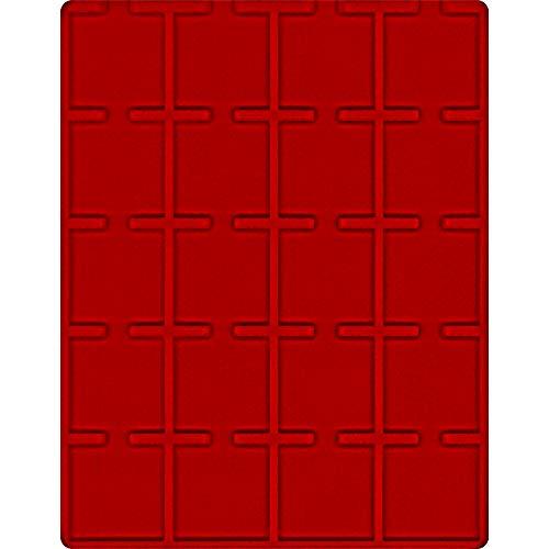 LINDNER Das Original Bandeja de terciopelo, color rojo claro, con 20 compartimentos cuadrados para monedas, 50 x 50 mm, cápsulas para monedas, Carree, Octo, Cápsulas para monedas