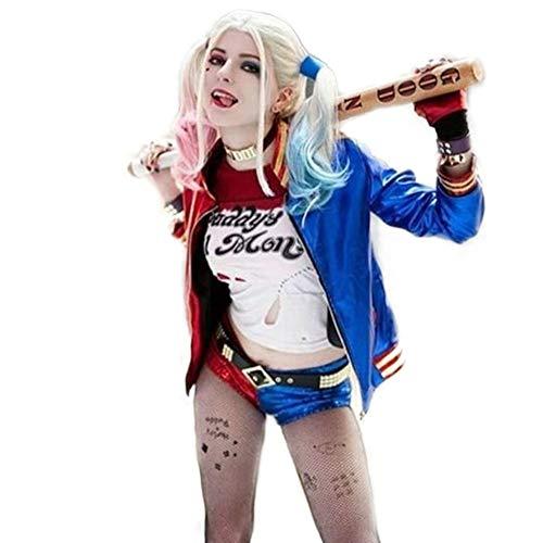 Harley Quinn traje de las mujeres Cosplay ropa con collares pulseras cinturones guantes pistolas cintura suicidio escuadrón cosplay fiesta kits