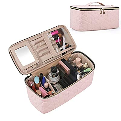 BAGSMART Makeup Bag Cosmetic Bag Large Toiletry Bag Travel Bag Case Organizer for Women, Soft Pink