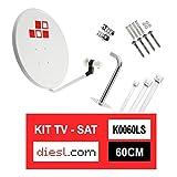 Diesl.com - Kit Antenas parabólicas de televisión satélite Digital - 60cm + LNB + Soporte Acero SP30