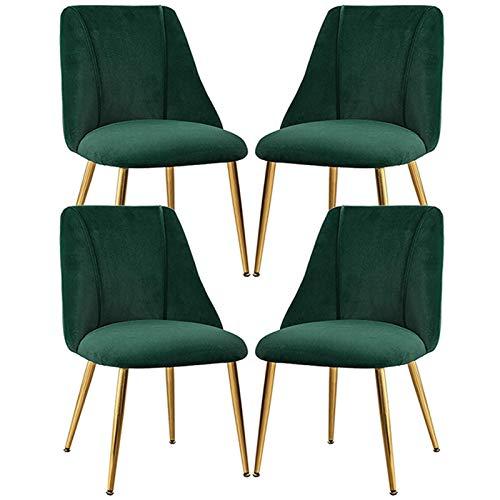 4× Light Luxury Dining Chair Velvet Leisure Chair Home Modern Simple Backrest Bedroom Stool Used In Living Room, Hotel, Restaurant, Studio (Color : Green)