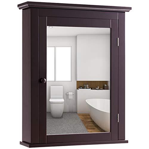 COSTWAY Armario de Baño con Espejo de Pared Mueble de Baño Organizador con Puerta y Estante Ajustable Gabinete de Almacenamiento para Dormitorio (marrón)