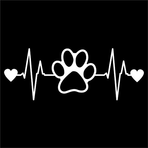 Dog Paw Heartbeat Vinyl Decal Sticker | Cars Trucks Vans Walls Laptops Cups | White | 7.5 X 2.8 Inch | KCD1170