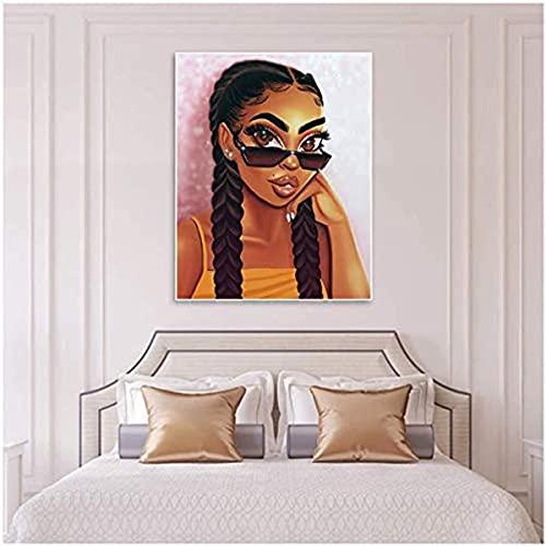 Ivpss Girls Room Decoration Pictures Lienzo Imprimir Gafas De Sol Chicas Pintura De Pared Pink Figura Figura Posters Y Prints Mura. 30x45cm Framed
