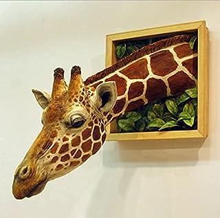 YHNMK Tête de Girafe Décoration Murale 3D, Art Mural Statue en Latex Animal réaliste, Embellissement de l'espace de la Cha...