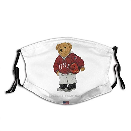 Retro Polo Bear Dust Face Cover Cover Washable Mouth Face Mask with Replaceable Filter Activated Carbon Soft Breathable