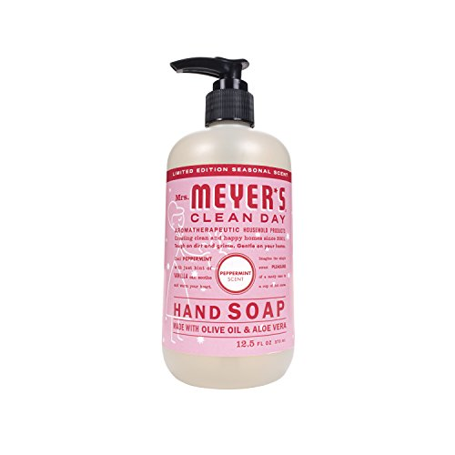 Mrs. Meyer's Clean Day Liquid Hand Soap, Cruelty Free and Biodegradable Hand Wash Made with Essential Oils, Peppermint Scent, 12.5 oz Bottle
