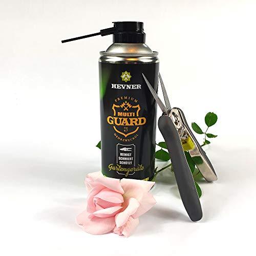 HEVNER Premium Multi-GUARD Pflegespray für Gartengeräte plus gratis Ergotrim Blumenschere