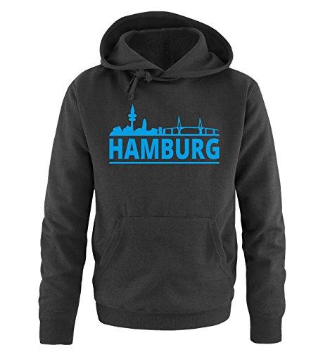 Comedy Shirts Hamburg - Skyline - Herren Hoodie - Schwarz / Blau Gr. XL