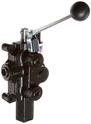"""Prince RD-2575-M4-ESA1 Directional Control Valve, Logsplitter, Monoblock, Cast Iron, 1 Spool, 4 Ways, 3 Positions, Motor, Spring Center, Lever Handle, 3000 psi, 20 gpm, In/Out: 3/4"""" NPT Female, Work 1/2"""" NPT Female from Prince Manufacturing"""