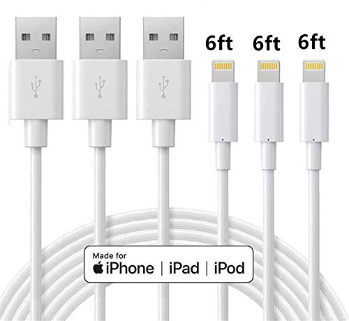 ilikable 3 Pack 6ft iPhone Charger Cable, Apple Mfi Certified iPhone Charging Cord, Compatible with iPhone 11 Xs Max XR X 8 7 6s Plus, ipad Mini/Air, iPod, Airpods - White