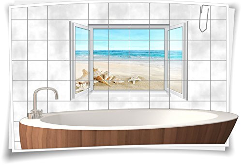Fliesenaufkleber Fliesenbild Fliesen Meer Strand Muscheln Deko Aufkleber Bad WC, 150x100cm, 15x20cm (BxH)