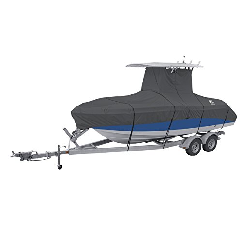 """Classic Accessories StormPro Heavy Duty Center Console T-Top Roof Boat Cover, For 22'-24' Long, up to 116"""" Beam Width"""