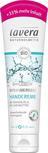 lavera basis sensitiv Handcreme +33 % ∙ Bio Mandelöl & Bio Sheabutter ∙ Intensive Handpflege ✔ Naturkosmetik ✔ vegan ✔ Bio Inhaltsstoffe ✔ Natürlich & Innovativ, 100 ml