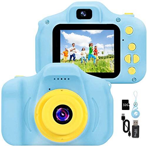 YunLone Cámara para Niños 12MP Selfie Cámara Digital 1080P HD Video Cámara Infantil 32GB TF Tarjeta, Estuche de Transporte, Batería Recargable 1200 mAh,2 Pulgadas, Regalos Juguete