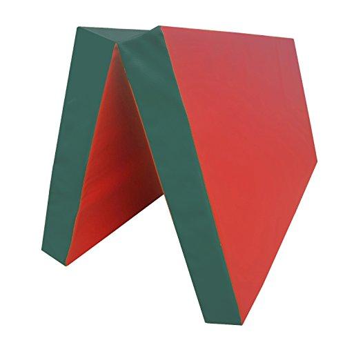 NiroSport Tapis de gymnastique 100 x 100 x 8 cm Tapis de gymnastique Tapis de fitness Tapis de sport imperméable pliable Rouge/vert