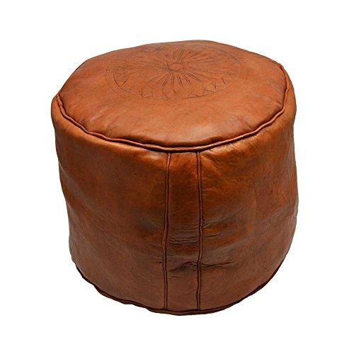 Puf Cuero Marruecos Liso marrón (Brown) Mide Aproximadamente 40 cm de diámetro...