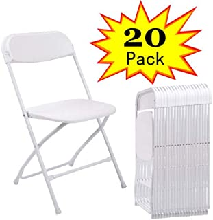 Sandinrayli 20 PCs White Plastic Folding Chairs Commercial Quality Stackable Outdoor Event Wedding Party Chairs