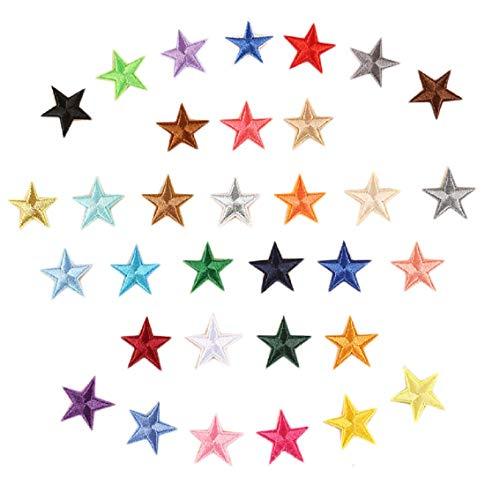 Yalulu 66 Stück Aufnäher Bügelbild Aufbügeln ügler Bügeleisen auf Patches Sticker Applikation DIY fünfzackiger Stern Muster für T-Shirt Jeans Kleidung Taschen