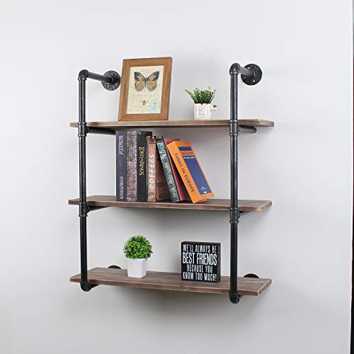MBQQ Industrial Pipe Shelves with Wood 3-Tiers,Rustic Wall Mount Shelf 30',Metal Hung Bracket Bookshelf,DIY Storage Shelving Floating Shelves