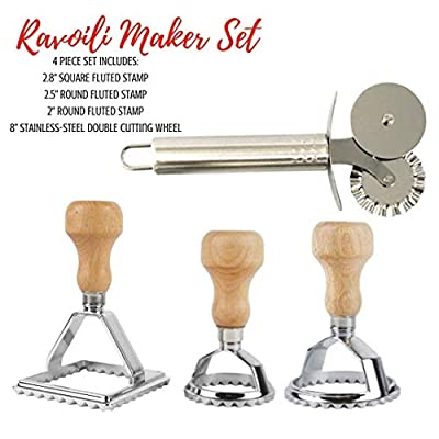 Cook's Fancy 4-Piece Ravioli Maker Stamp and Pasta Wheel Set, Includes Square and Two Round Ravioli Cutters plus Stainless-Steel Cutting Wheel for Fresh Pasta