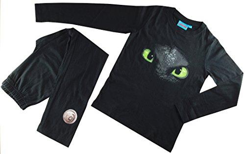 Dragons DreamWorks Kinder-Schlafanzug Ohnezahn Toothless, 104 bis 152, schwarz (104/110)