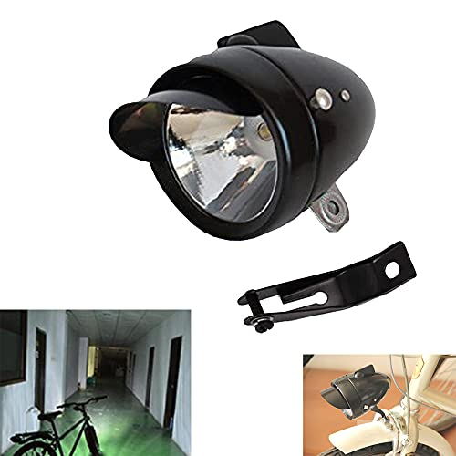 GOODKSSOP Black Chrome Metal Shell Bright Classical Cool Bicycle Headlight Retro Vintage Bike LED Light Night Riding Safety Front Fog Head Lamp Headlamp