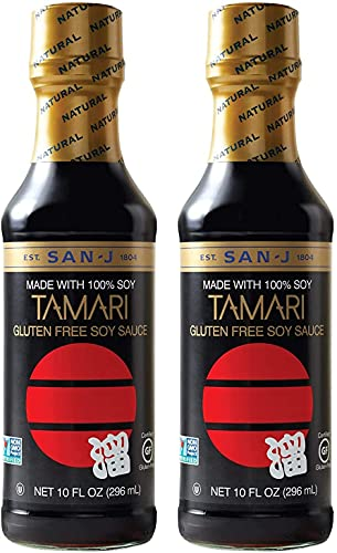 San-J Tamari Gluten Free Soy Sauce, Black Bottle, 10 Ounce (Pack of 2)