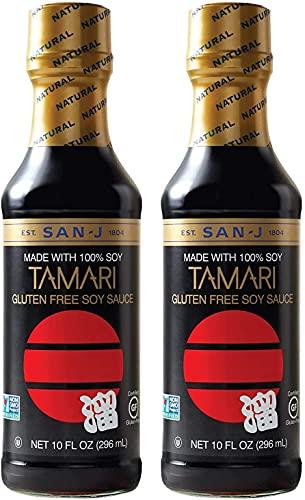 San-J Tamari Gluten Free Soy Sauce, Black Bottle,...