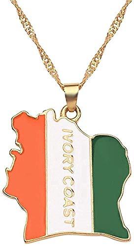 YOUZYHG co.,ltd Collar Mapa Bandera Collares Mujeres/Hombres Joyería Color Dorado Cote D Ivoire Card Jewelry