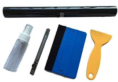 Koplampen set - 120x30cm folie donker of licht zwart + professionele rakel cutter, schraper rakel + verstuiver - zelf achterlichten & autolampen folie/zwart/verduisteren lichtzwart.