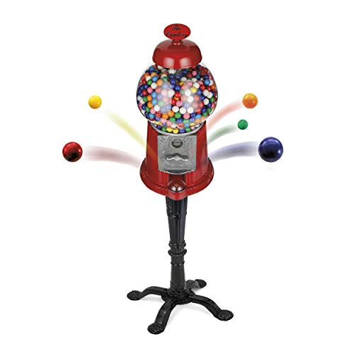 The Candery Gumball Machine - 15 Inch Candy Dispenser with Stand for 0.62 Inch Bubble Gum Ball - Heavy Duty Red Metal with Large Glass Globe - Easy Twist-Off Refill - Free or Coin Operated