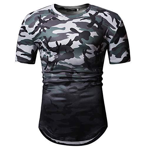 Jmsc Magliette Uomo T-Shirt Estive Maniche Corte Magliette Girocollo Stampate Patchwork Slim Fit Camicie Casual Contrasto Base Camicie Sportive Uomo Camicie Bianche Uomo Altri Modelli XXL