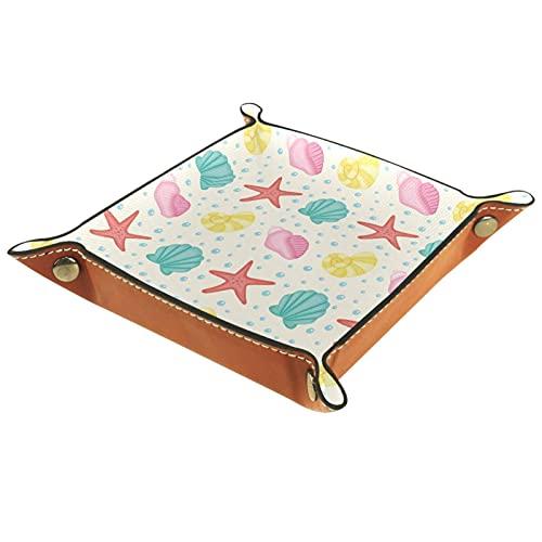 AITAI Bandeja de valet de cuero vegano organizador de mesita de noche placa de almacenamiento de escritorio Catchall colorido patrón de conchas de mar lindo