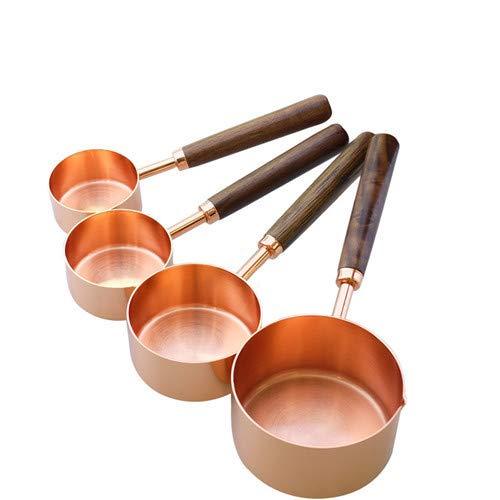 yui Küchenutensilien-Organisation, Edelstahl-Messlöffel-Set mit Walnussholzgriff – Set mit 4/8 Kupfer-Messbechern für trockene und flüssige Zutaten, Küchenwaren, komplettes Set (Farbe: 4 A)