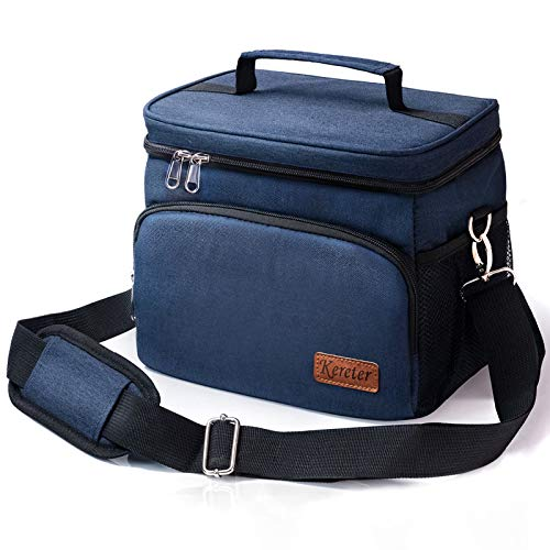Large Lunch Bag for Men & Women - Adult Insulated Lunch Box for Office Work School Picnic Beach Leakproof Cooler Tote Bag Reusable Freezable Lunch Container Bag with Adjustable Shoulder Strap for Kid
