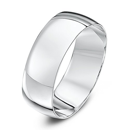 Theia Unisex Heavy D Shape Polished 18 ct White Gold 7 mm Wedding Ring - Size W