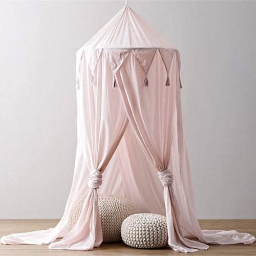Bed Canopy for Kids Baby Bed, Round Dome Kids Indoor Outdoor Castle Play Tent Hanging House Decoration Reading Nook Cotton Canvas Coral-3 Colors Pink
