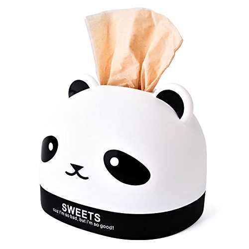 Funie Aufbewahrungsbox für Taschentücher, Panda-Kopf, Anti-Staub-Tücher, Aufbewahrungsbox für Zuhause, Dekoration, Rosenrot OneSize Schwarz