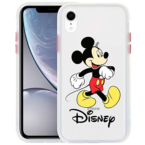 DISNEY COLLECTION iPhone XR Case Mickey Mouse Cartoon Characters Design Matte Translucent Case for Women Girls Protective Phone Bumper Case for iPhone XR 6.1 Inch White