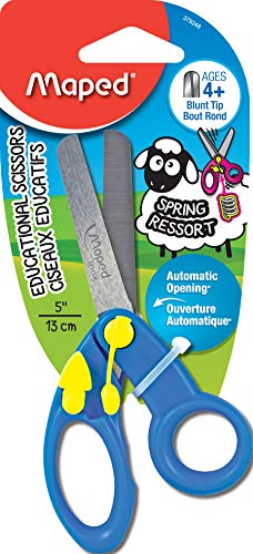 Maped Koopy Spring-Assisted Educational Scissors, Kids, 5 Inch, Blunt Tip, Right & Left Handed-379248 (Assorted Colors)