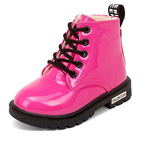 Daclay Kids Boots Children Boys and Girls Candy-Colored Waterproof and Velvet Martin Boots (3.5 Big Kid,Rose Red)