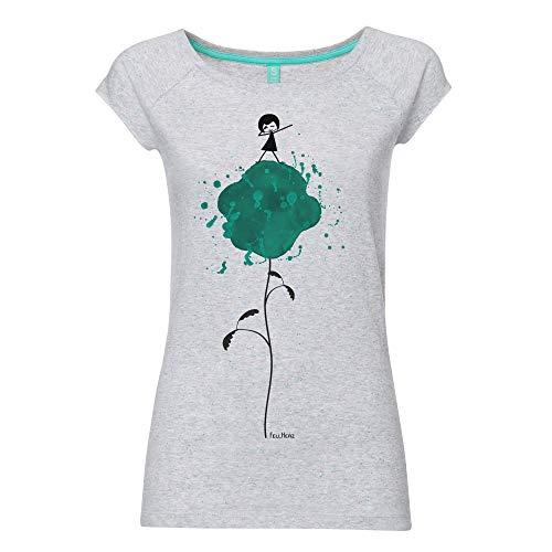 FellHerz Dab-Dance hellgrau gepunktet - L - süßes Damen T-Shirt aus 100% Bio-Baumwolle Organic fair nachhaltig öko alternativ Mädchen Fee Blume Tanz