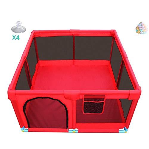 LIANGJUN-Parc bebe Enfant Anti-Chute Tissu Oxford Protection Jeu Stable Boule en Plastique Intérieur Extérieur - 66cm De Haut (Couleur : Rouge, Taille : 128X128X66CM)